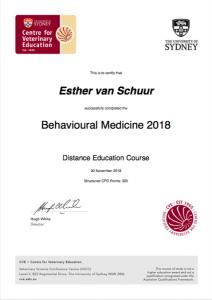 Certificaat Behavioural Medicine Centre for Veterinary Education
